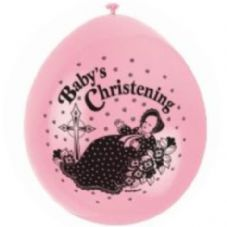 "10 'Baby's Christening' Pink 9"" Assorted Colour Balloons"